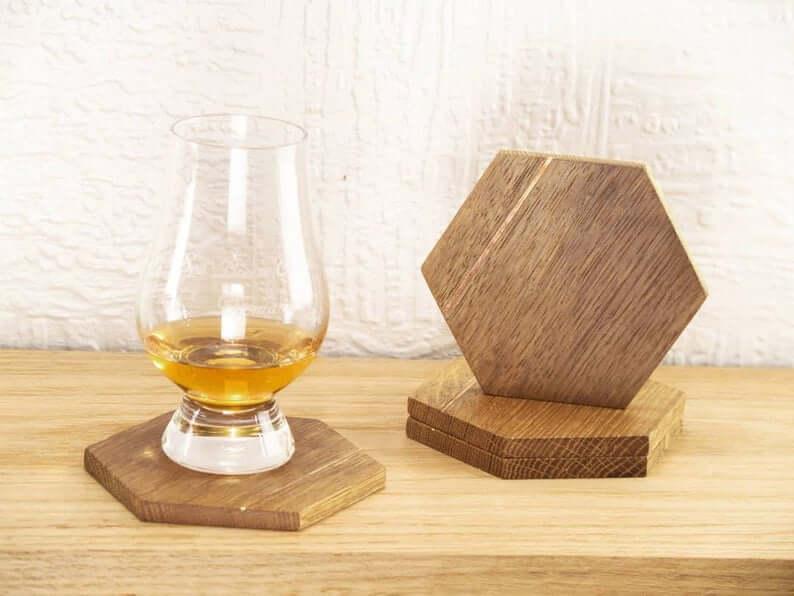 Reclaimed Whiskey Barrel Coasters