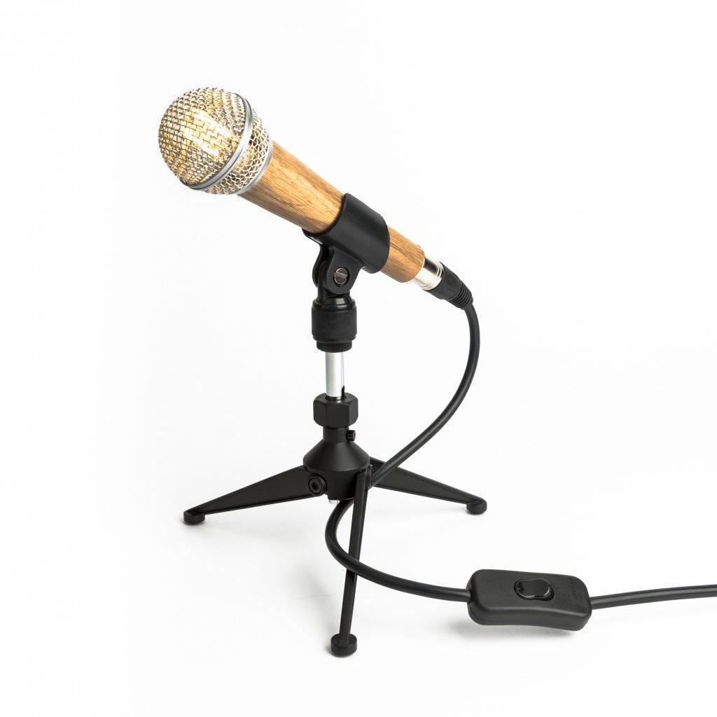 Handmade Wooden Microphone Lamp